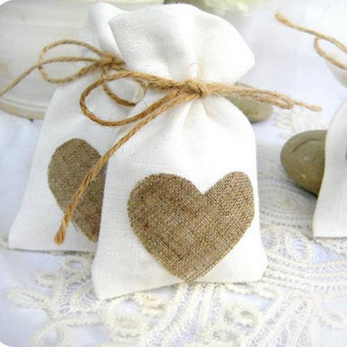 Linen Heart Drawstring Bags