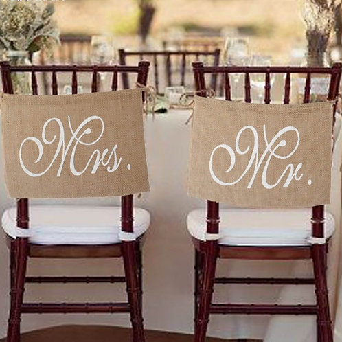 Hessian Mr & Mrs Chair banner