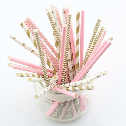 Gold and Pink straws