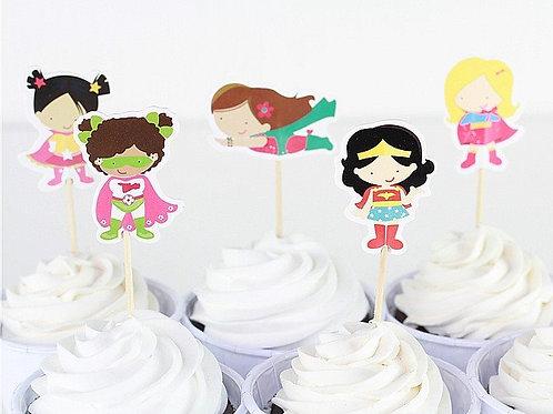 Girls Superhero Cupcake Picks
