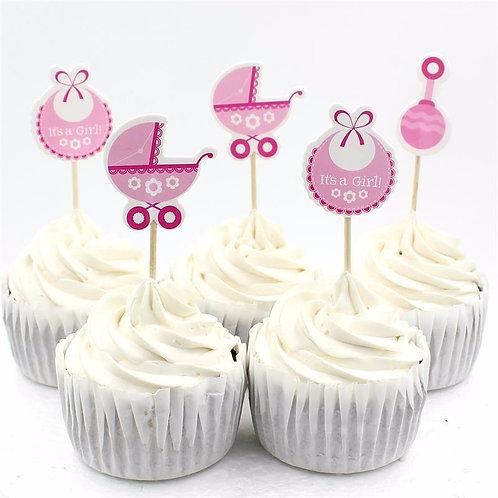 Baby Wagon Cupcake Picks-Pink