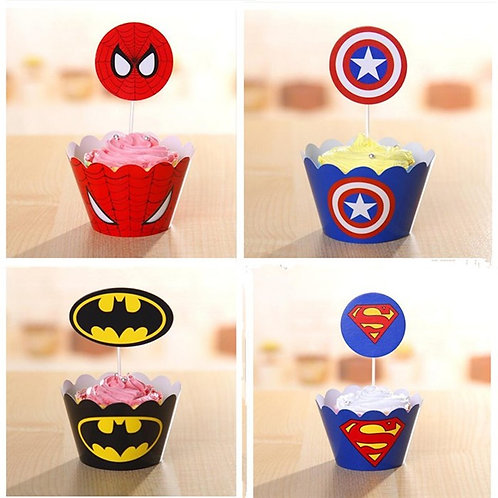 Superheroes Cupcake wrappers and Picks