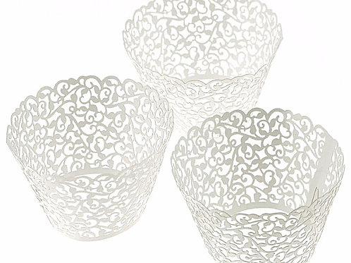 Laser Cut Cupcake liners-White