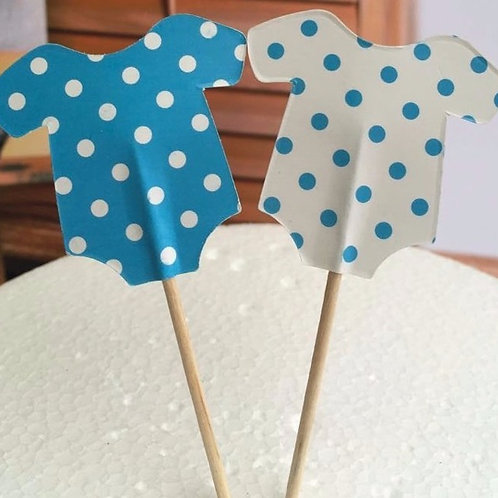 Baby Boy Onesie Cupcake Toppers
