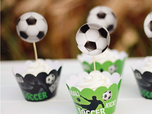 Soccer Cupcake Wrappers and Picks