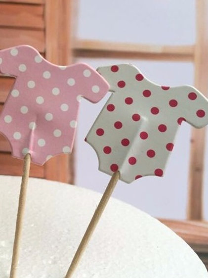Baby Girl Onesie Cupcake toppers