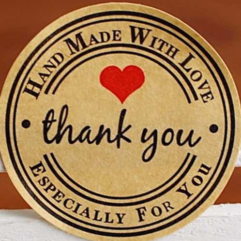Vintage Love Heart Thank You Stickers