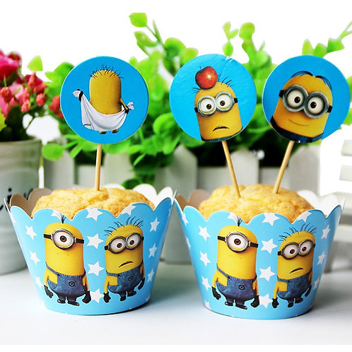 Minions Cupcake Wrappers and Picks