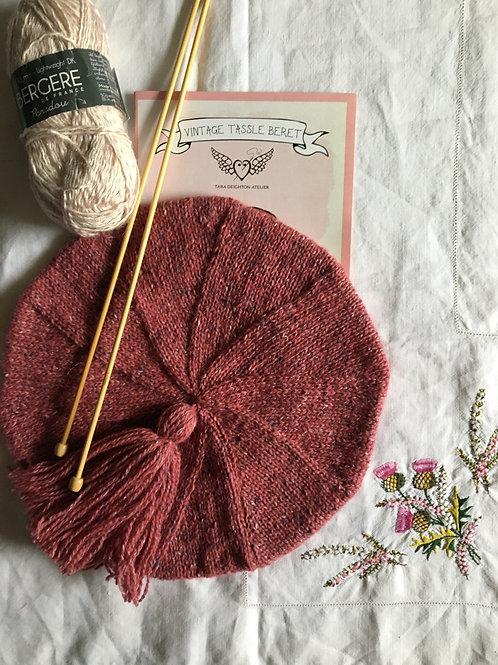 CUSTOM ORDER ~ Hand Knitted Vintage Tassel Beret