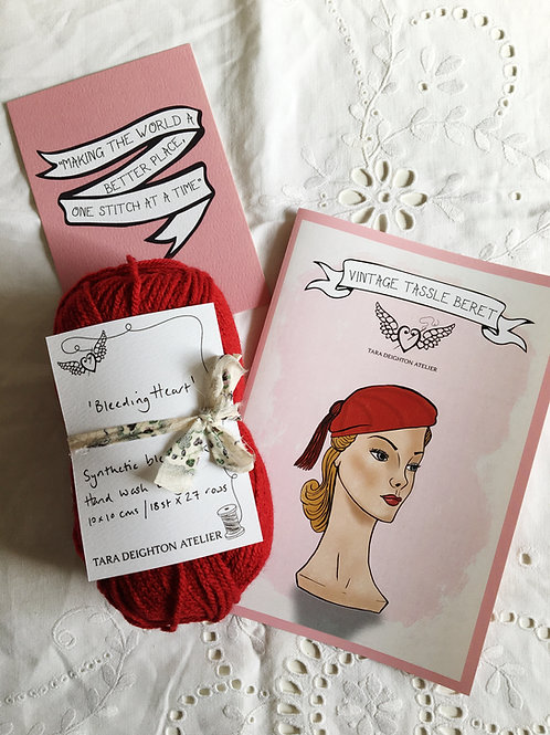 Vintage Tassel Beret KIT ~ Bleeding Heart