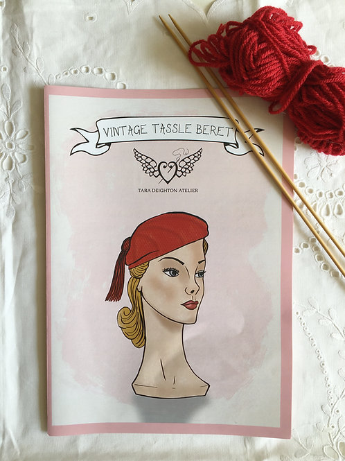 Vintage Tassel Beret PDF DOWNLOAD PATTERN