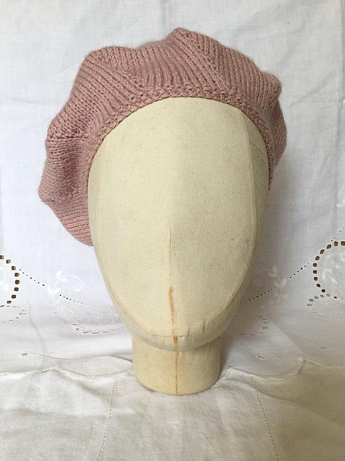 Handknitted Vintage Tassel Beret ~ Blush Pink