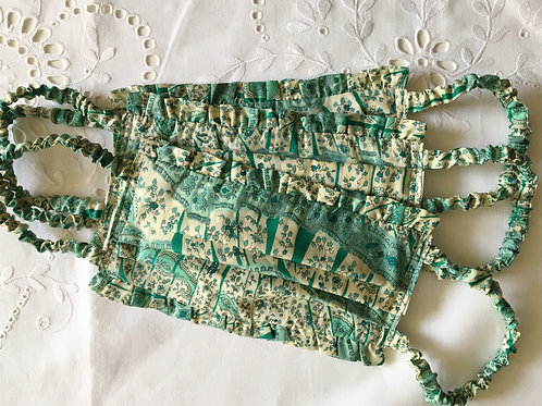 Ruffle face mask in Green Gypsy Paisley