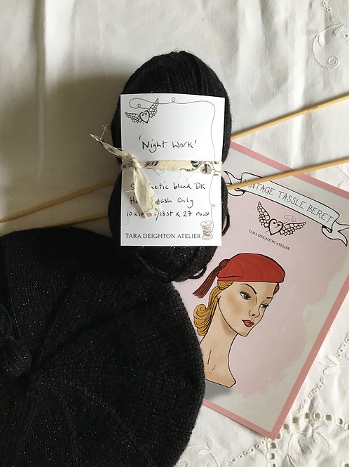 Vintage Tassel Beret KIT ~ Night Work