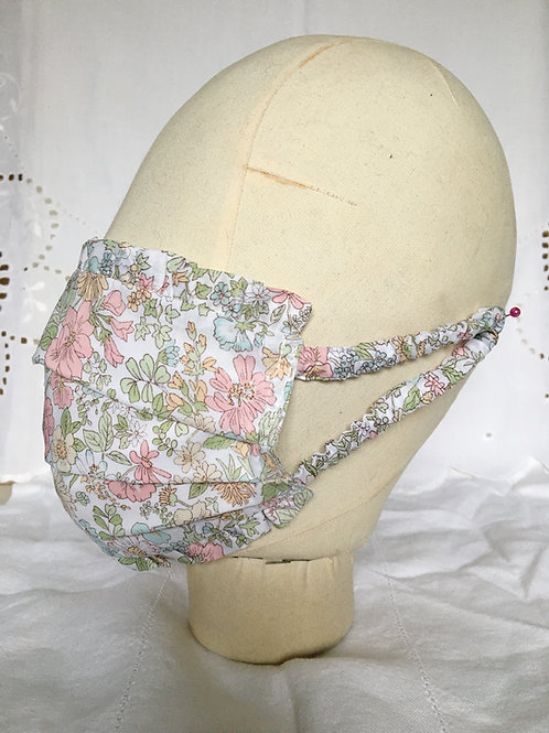 Ruffle face mask in Cottage Garden