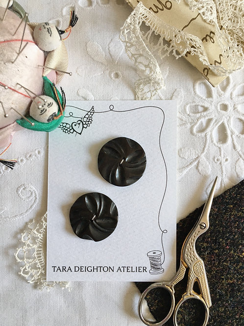 Vintage Deep Brown Swirl Buttons