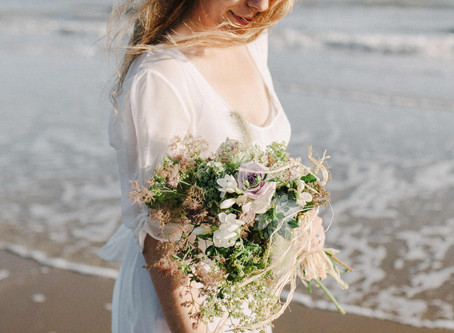 Romantic free spirited seaside wedding