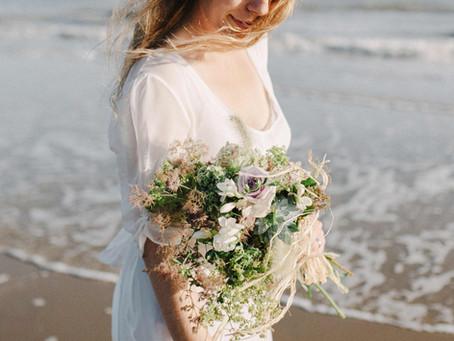 Romantic free spirited seaside wedding