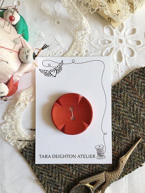 Vintage Red Coat Button