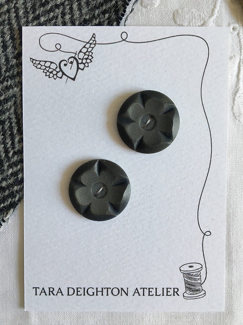 Vintage pair of flower moulded buttons ~Deep Pewter