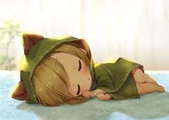 ポンチョ小人とタオルのベッド