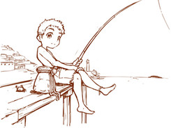 釣りする少年