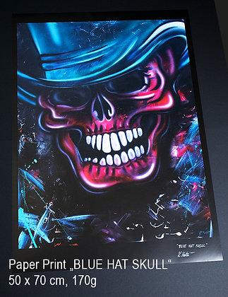 "Print ""BLUE HAT SKULL"" 50x 70cm"