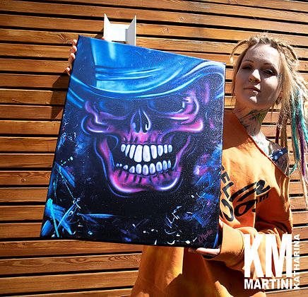 """CANVAS PRINT of the  Painting """"Blue Hat Skull"""" 40 x 50 cm"""
