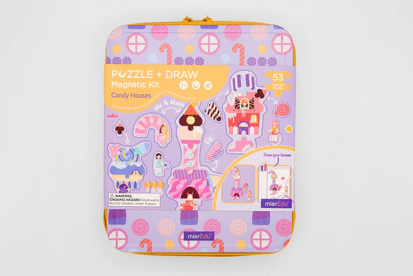 Puzzle + Draw Magnetic Kit - Candy House