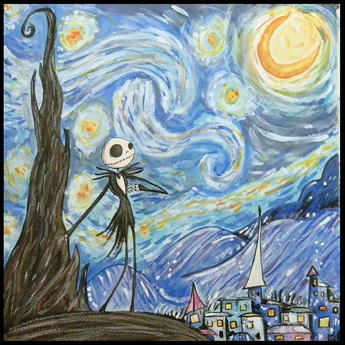 Starry Night Jack Skellington (print)