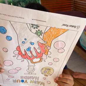 Corona colouring at Bali Kids