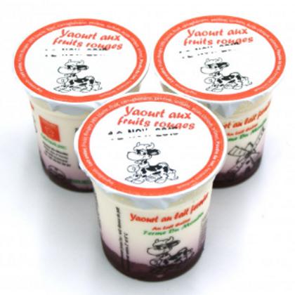La ferme du moulin, yaourt au lait entier confiture fruits rouges 125 g