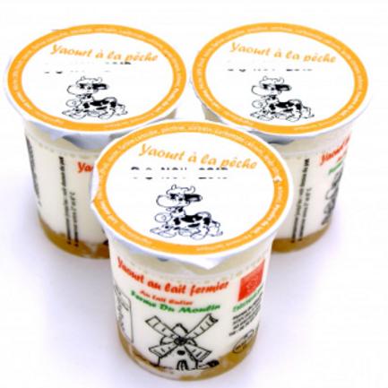 La ferme du moulin, yaourt au lait entier confiture pêche 125 g