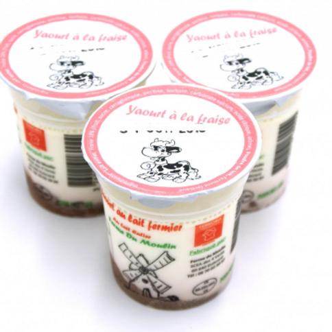 La ferme du moulin, yaourt au lait entier confiture fraise 125 g