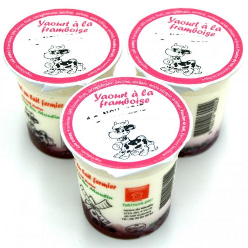 La ferme du moulin, yaourt au lait entier confiture framboise 125 g
