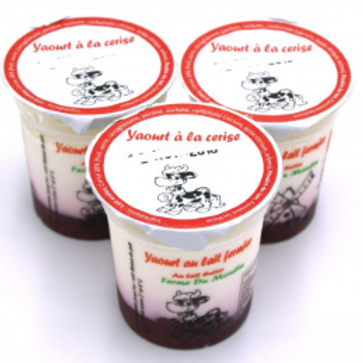 La ferme du moulin, yaourt au lait entier confiture cerise 125 g