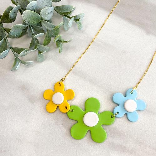 Flower necklace - Green