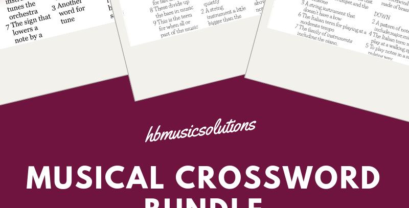 Musical Crosswords Units 1-10++ Bundle