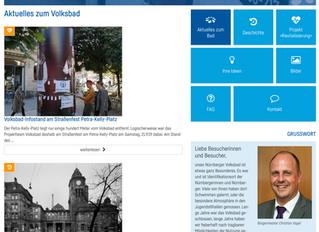 Homepage der Stadt Nürnberg nun mit unserem Volksbad