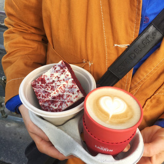 Red velvet and a cappuccino