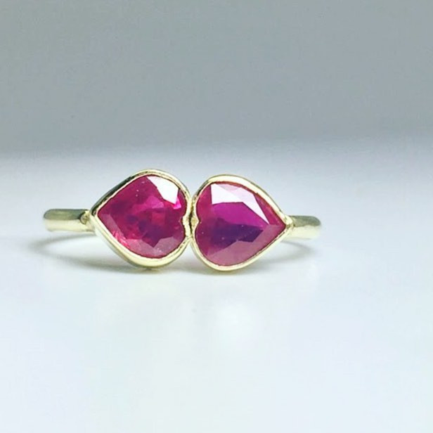 Ruby double heart ring