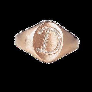 18k rose gold and diamond signet ring