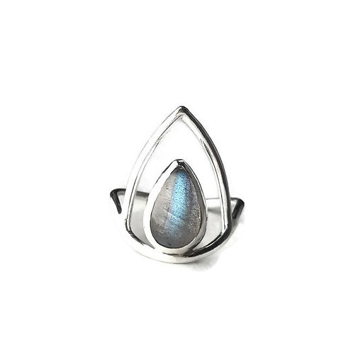 Labradorite Lotus Ring