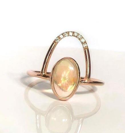 Opal Luna ring with diamonds in rose gol