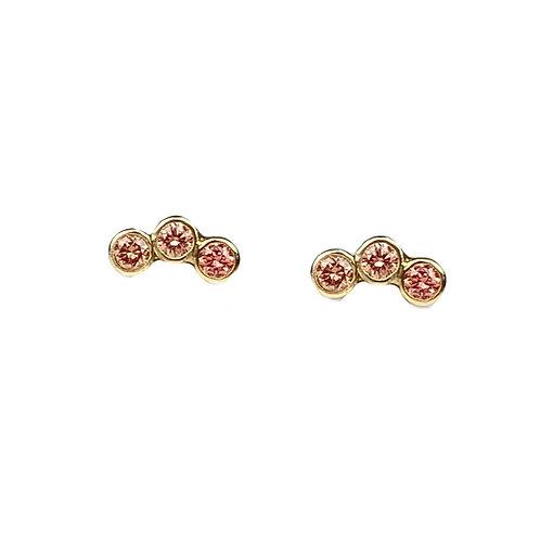 Pink Mini Curved Stone Studs