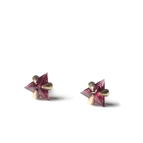 Triangle Studs in Garnet