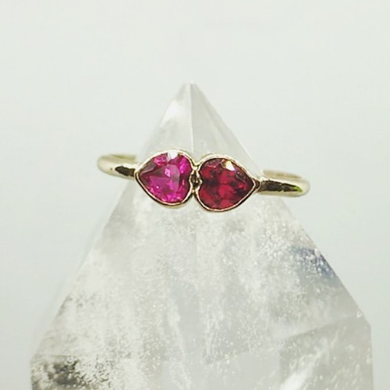 mother and son double heart ring