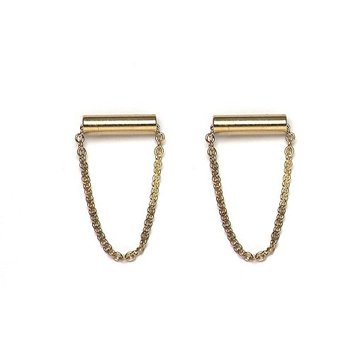 Tube and Chain Earrings
