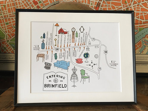 Original Brimfield Antique Show Pictorial Map