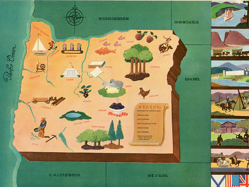 Vintage Pictorial Map of Oregon 1939 World's Fair